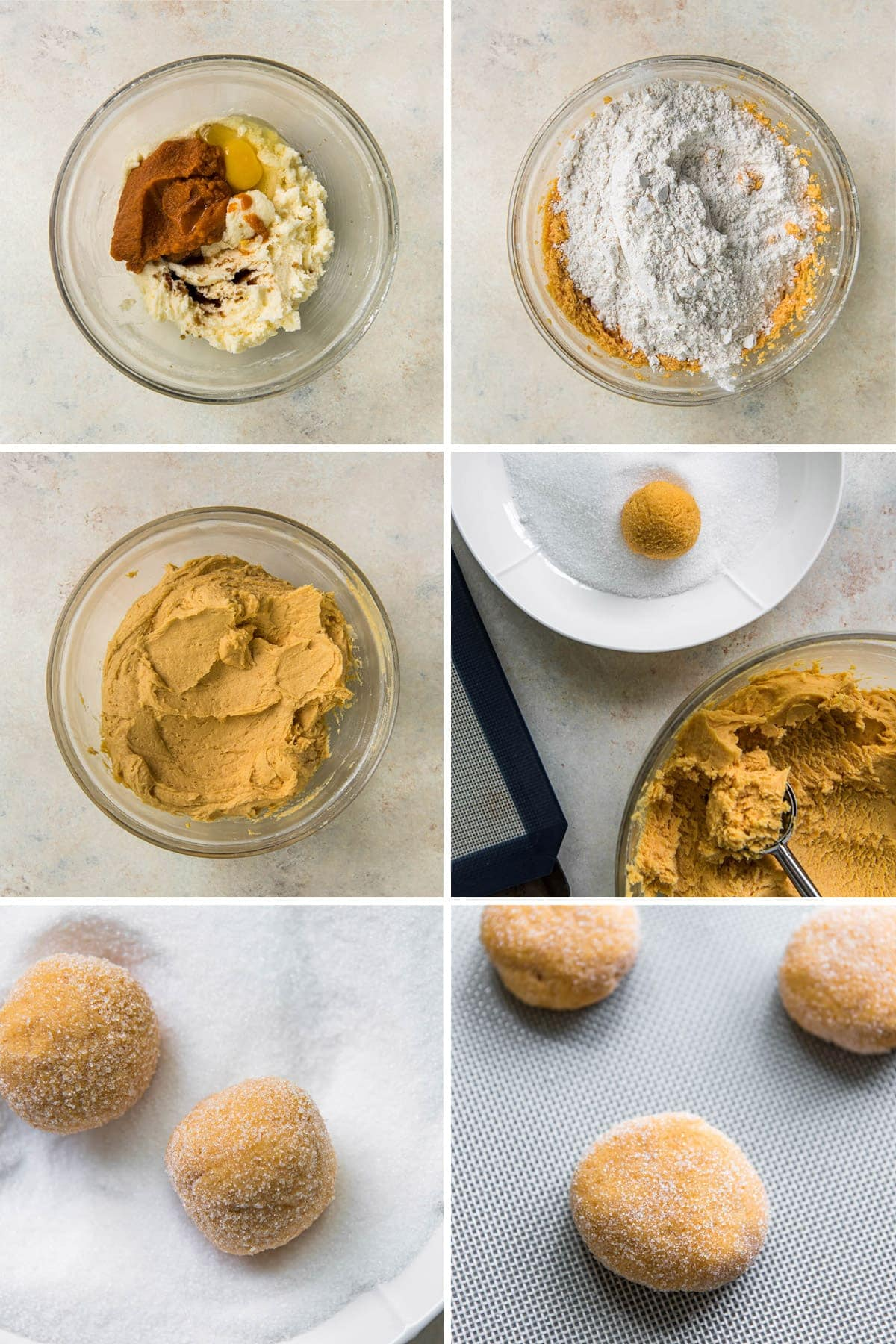 collage of 6 images showing steps for making pumpkin sugar cookie dough