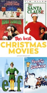 images of christmas movies in a collage with text
