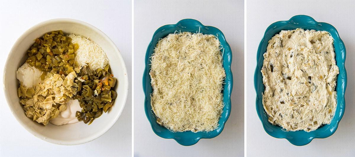3 collages making a jalapeno artichoke dip
