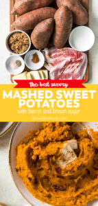 mashed sweet potatoes pinnable image with text