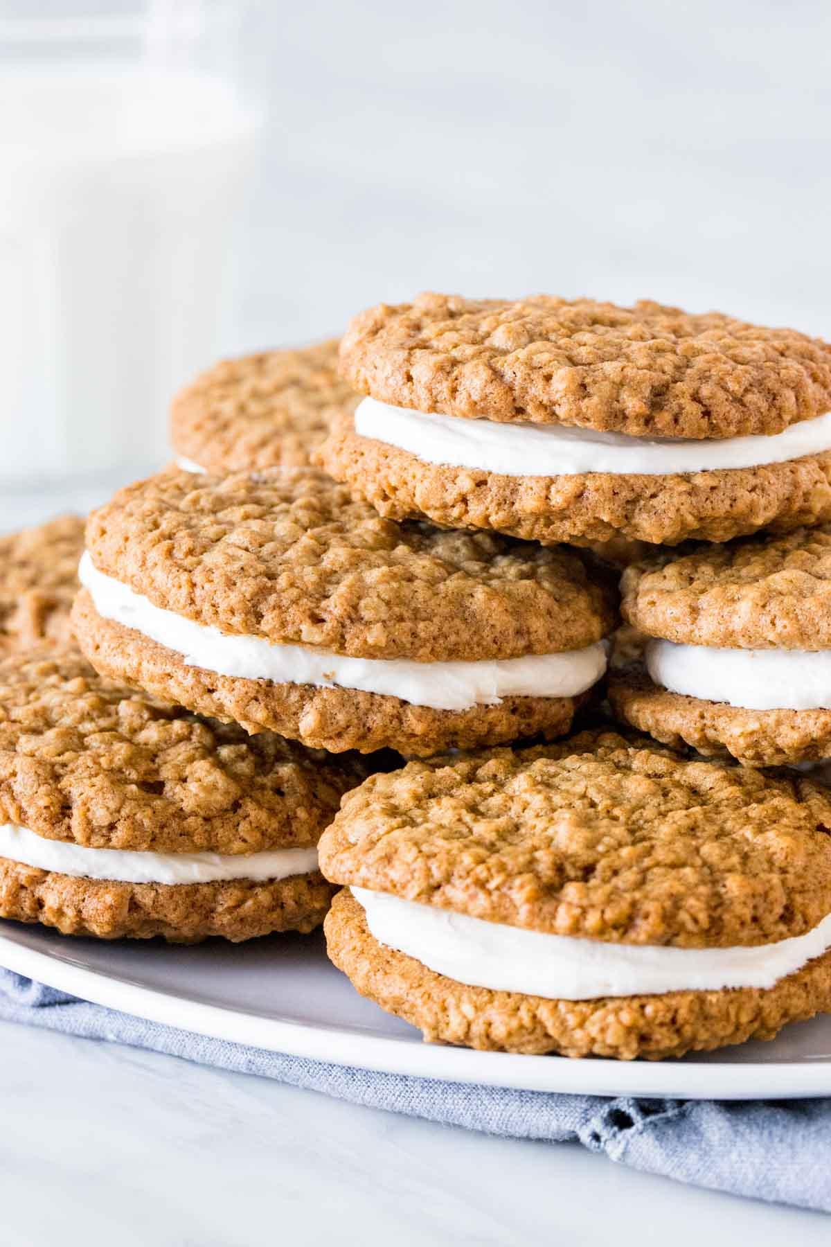 Plate of oatmeal cream pie cookies