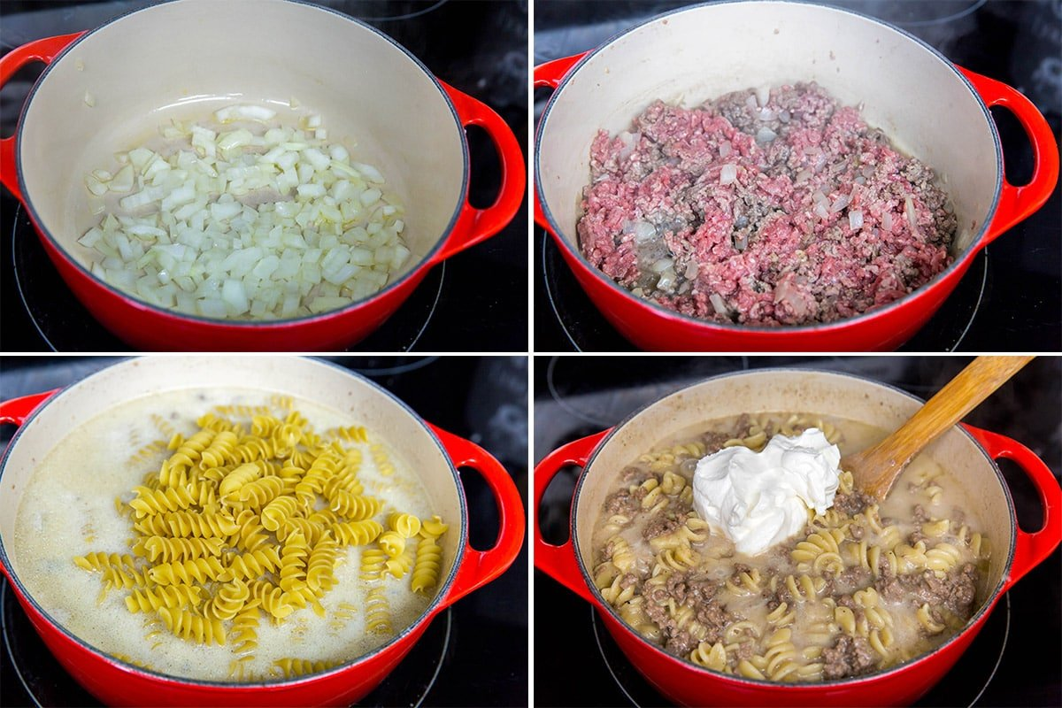 collage of 4 images showing steps for making beef stroganoff