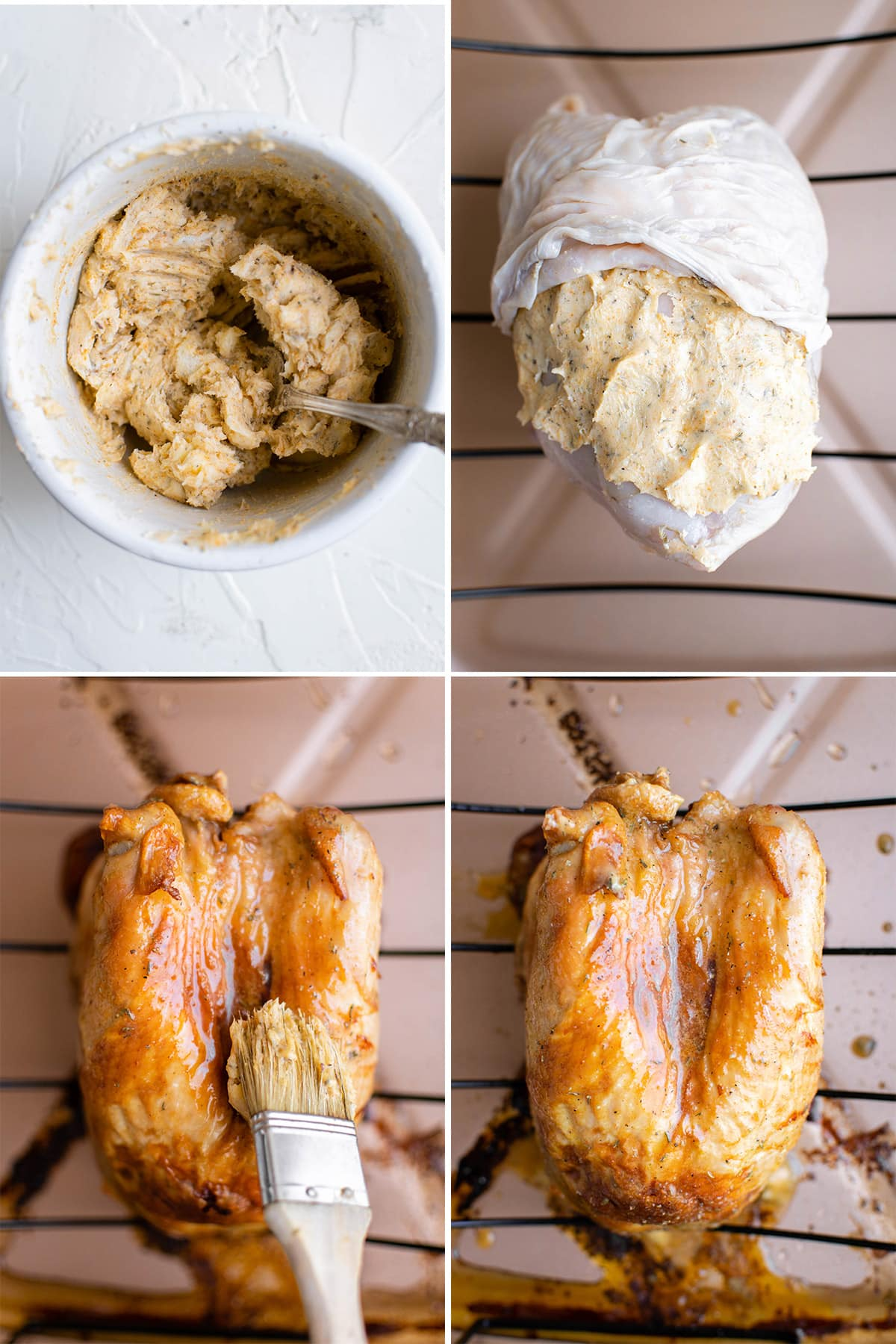 collage of 4 images showing how to add butter under the skin of the turkey and a roast turkey breast