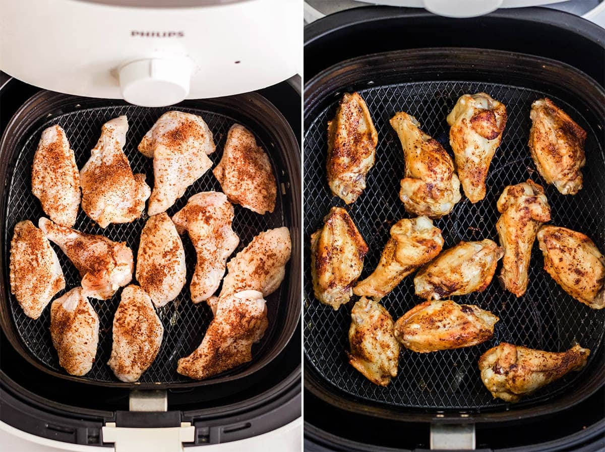 collage image of chicken wings in air fryer basket