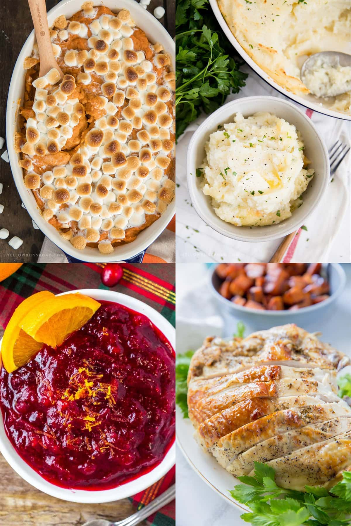 4 image collage of sweet potato casserole, mashed potatoes, cranberry sauce, roasted turkey breast