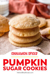 pinnable image for pumpkin sugar cookies with image and text