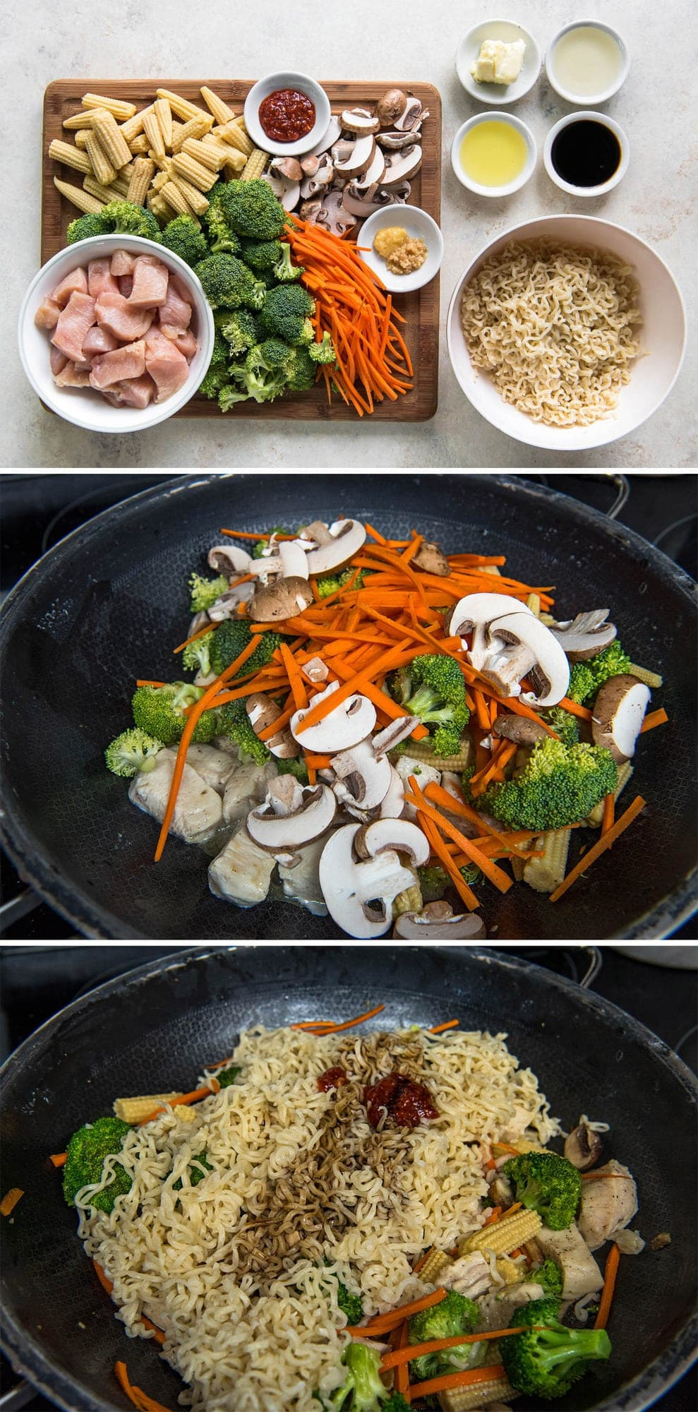 collage of 3 images featuring steps for making ramen stir fry, including ingredients