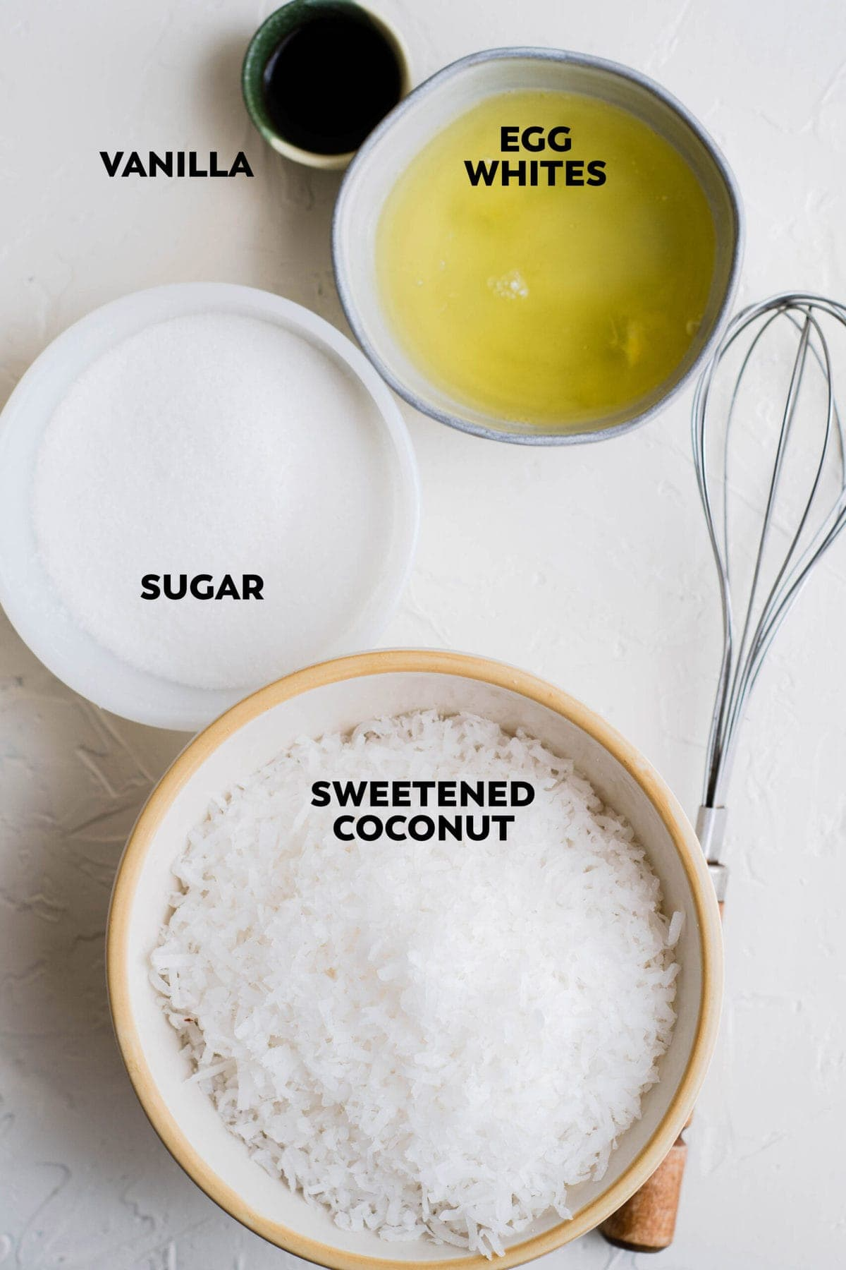 ingredients to make coconut macaroons, labeled