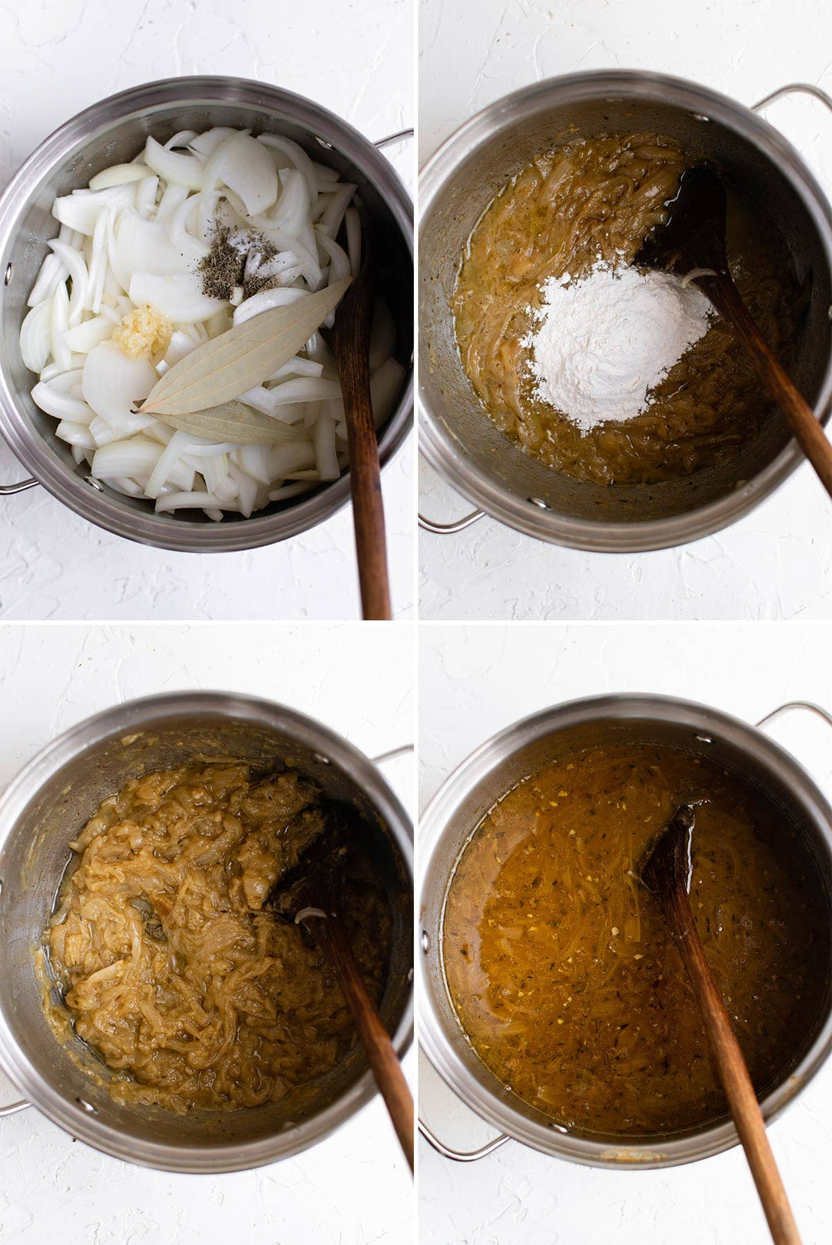 4 images in a collage with onions being made into soup
