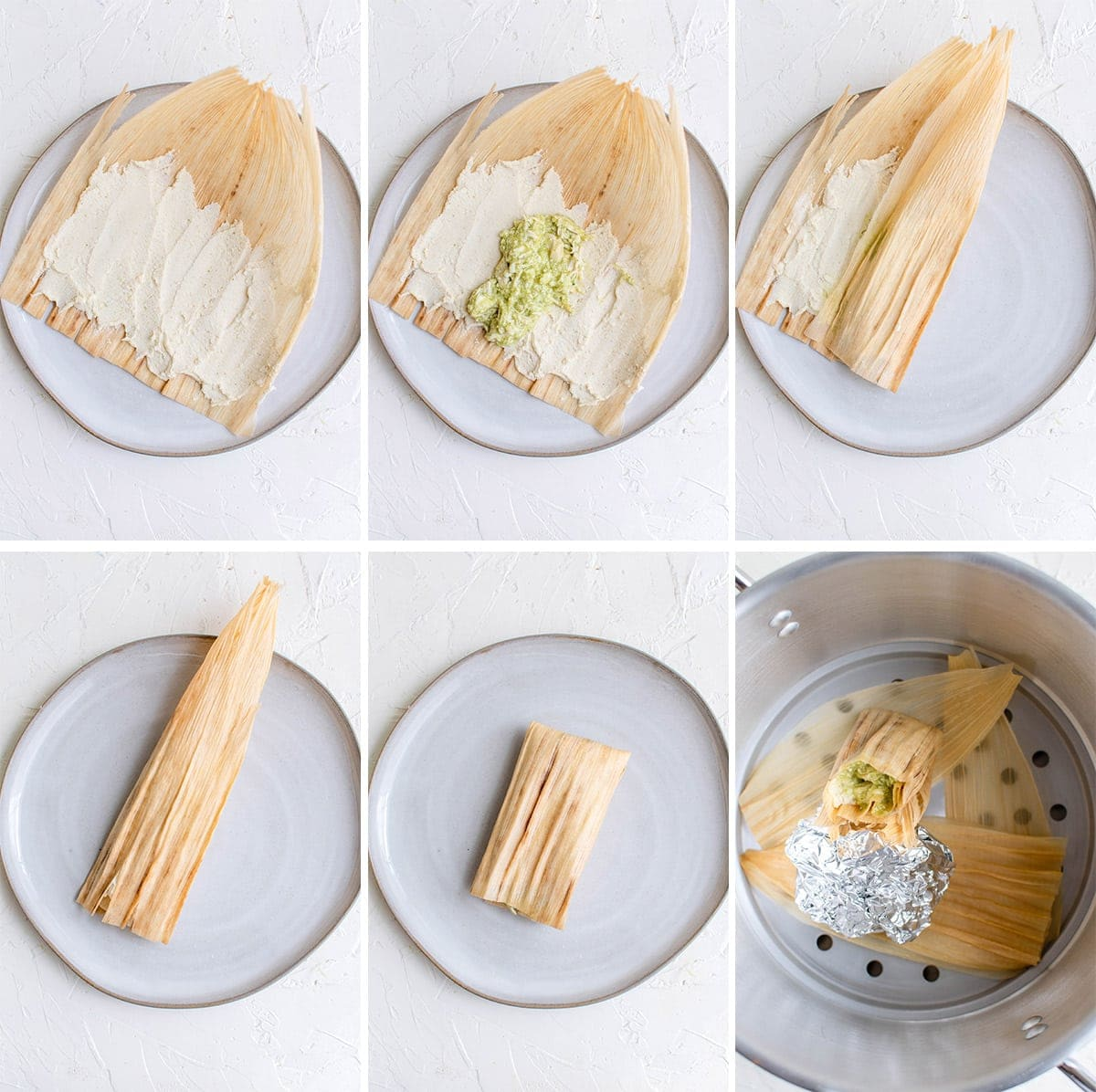 how to fill and wrap tamales collage of images