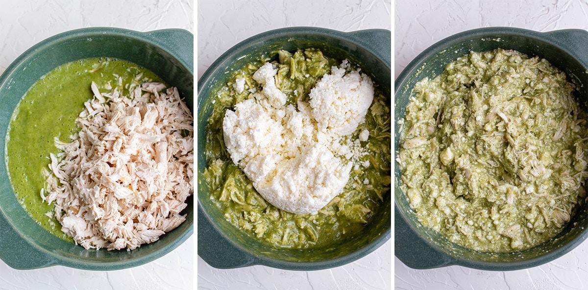 collage of 3 images showing steps for making chicken tamale filling