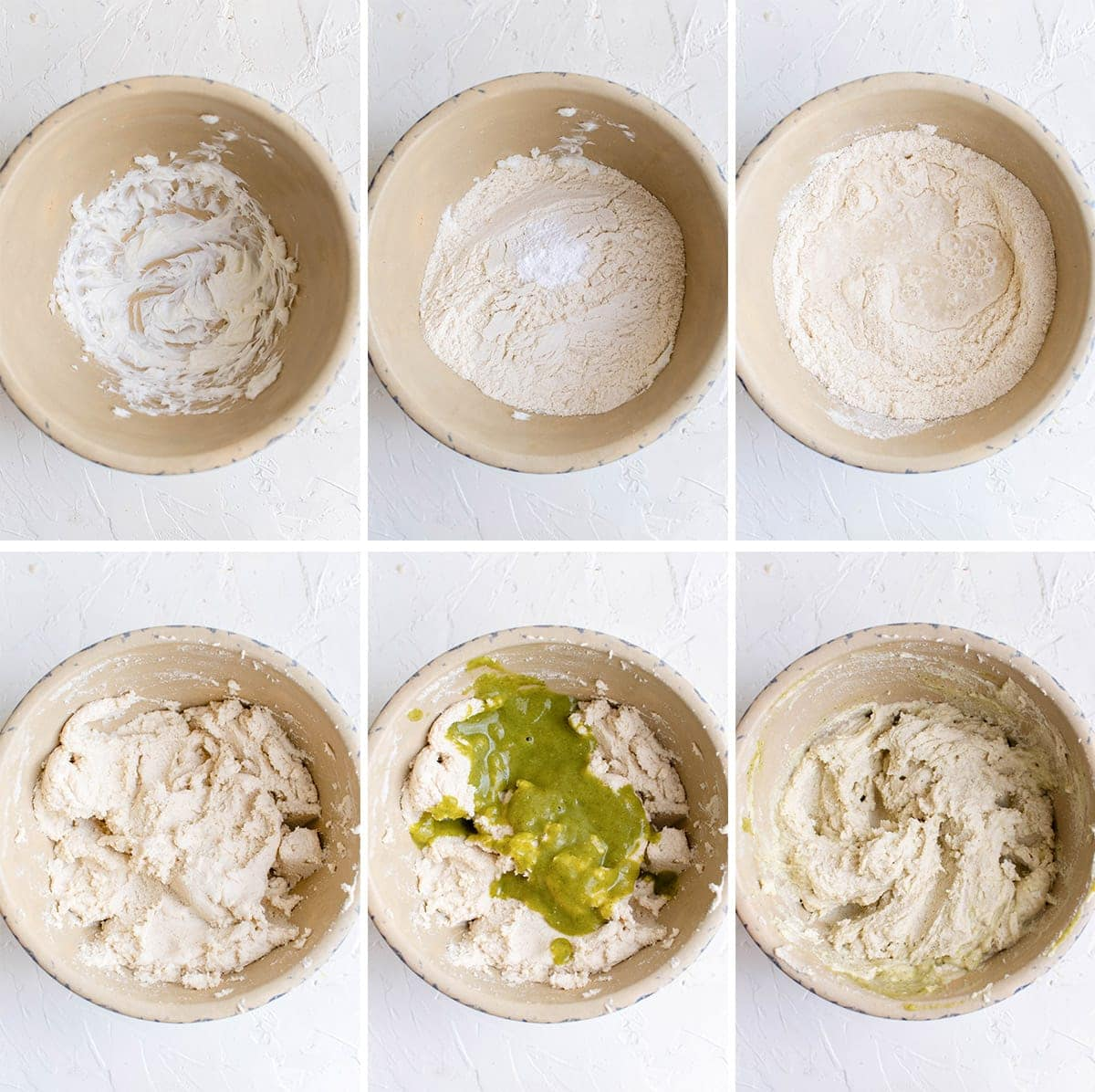 collage of 6 images showing how to make masa dough for tamales
