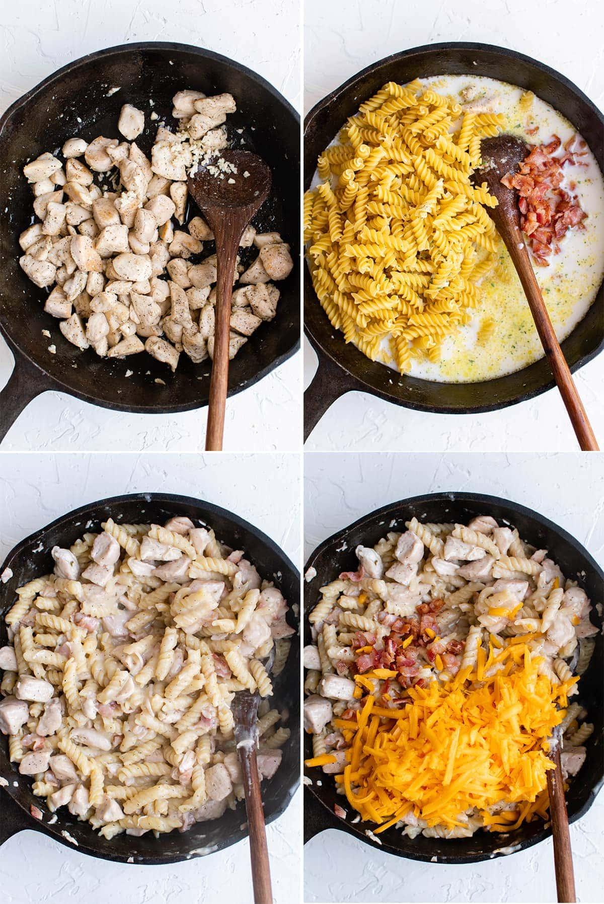 collage of images showing how to make crack chicken pasta