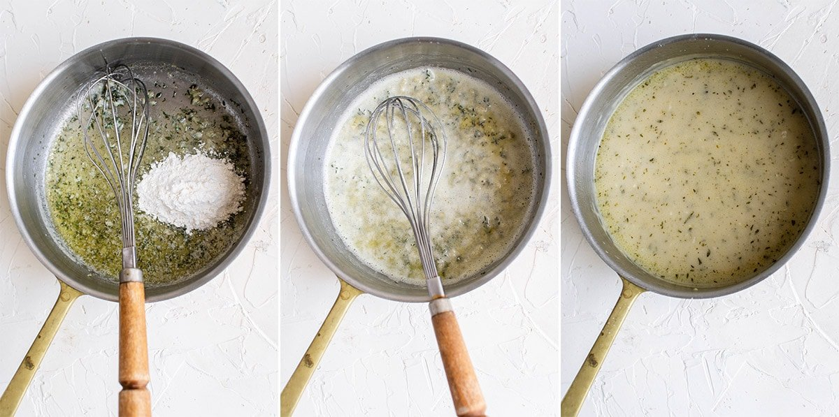 3 image collage of a saucepan with ingredients to make turkey gravy