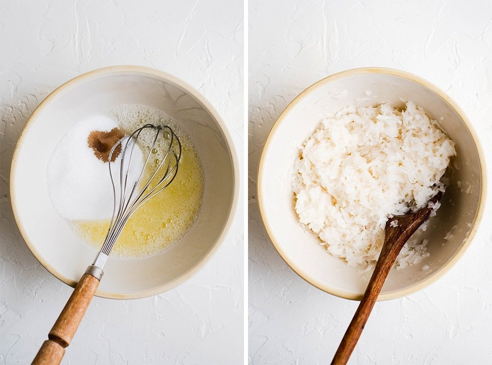 two images showing ingredients for coconut macaroons