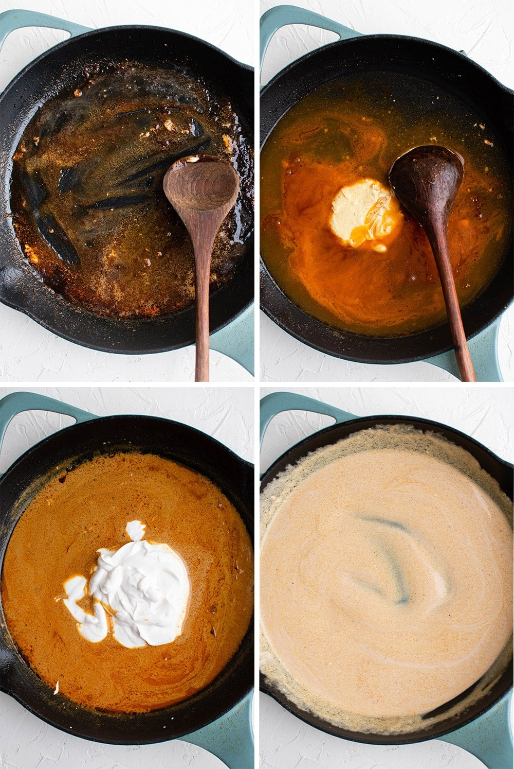 collage of images showing how to make sauce in a pan
