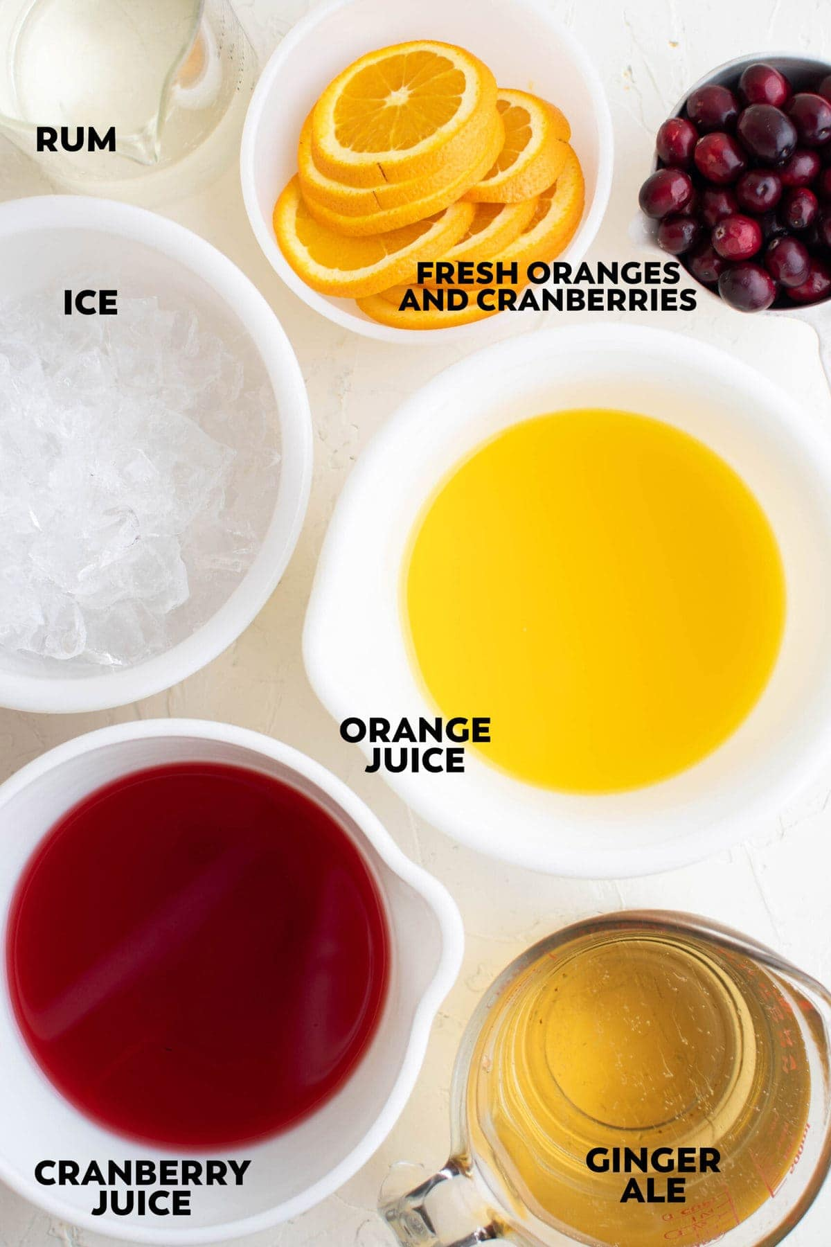 labeled ingredients for holiday punch
