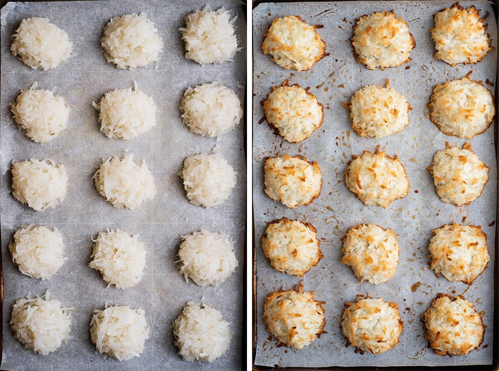 two images of coconut macaroons on baking sheet