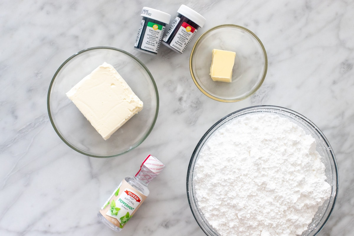 Ingredients for cream cheese candies.