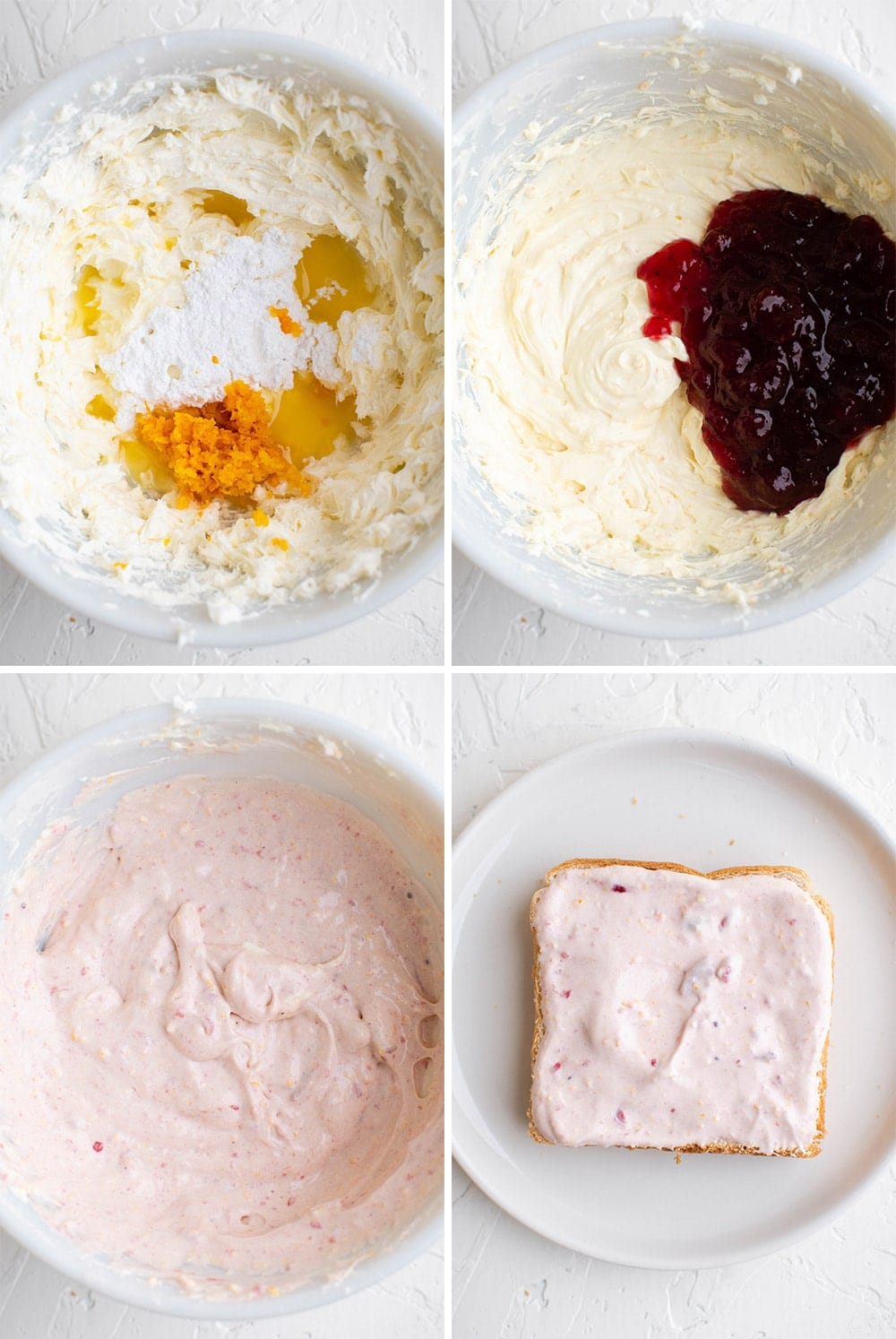 collage of images showing how to make the cranberry cream cheese filling