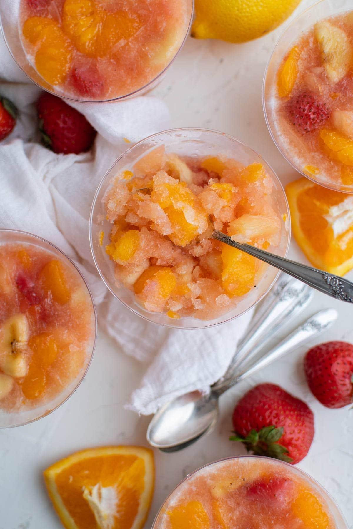 plastic cups with frozen fruit slush
