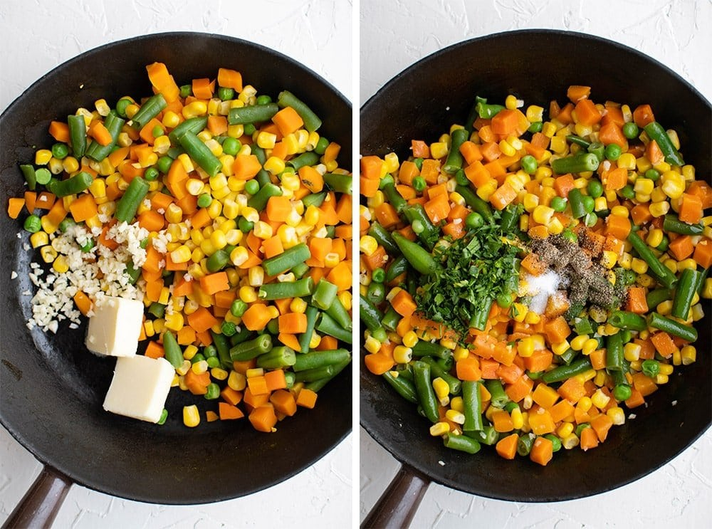 collage of 2 images showing frozen vegetables in a cast iron skillet, cooked with butter, garli, parsley