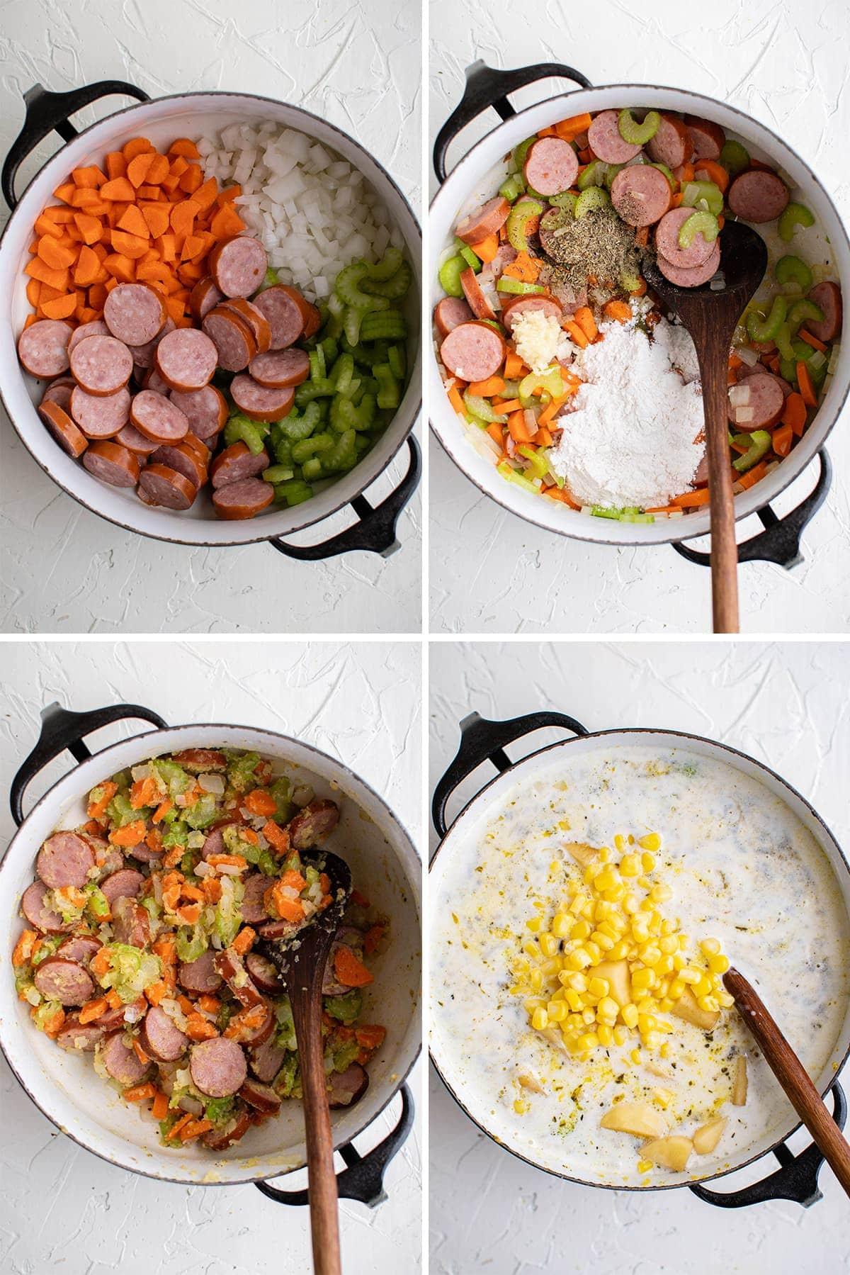 Steps for making sausage and potato soup