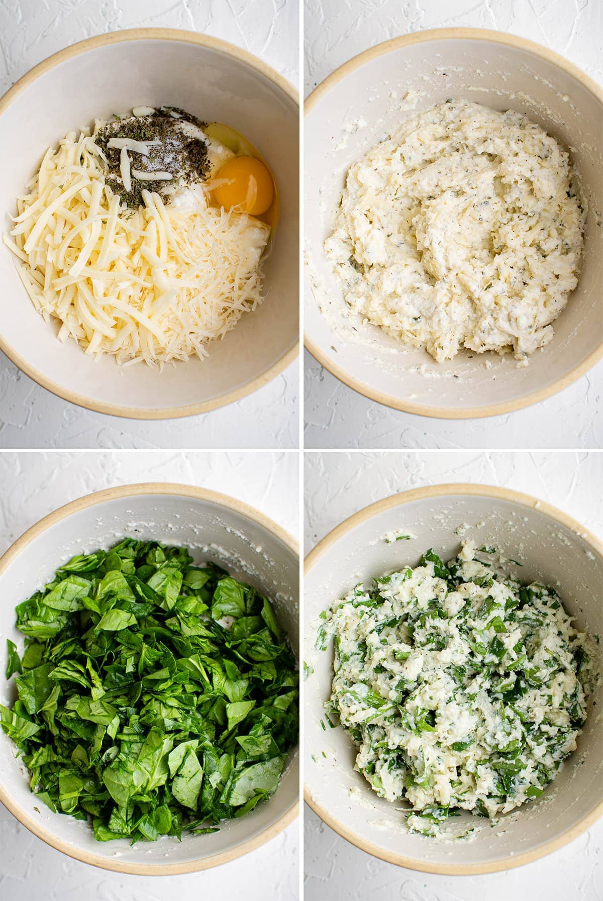 collage showing how to make spinach lasagna filling