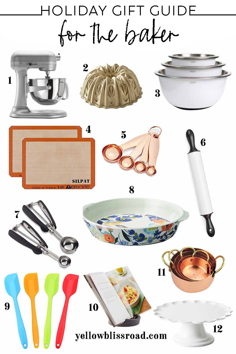collage of images of gift ideas for people who bake