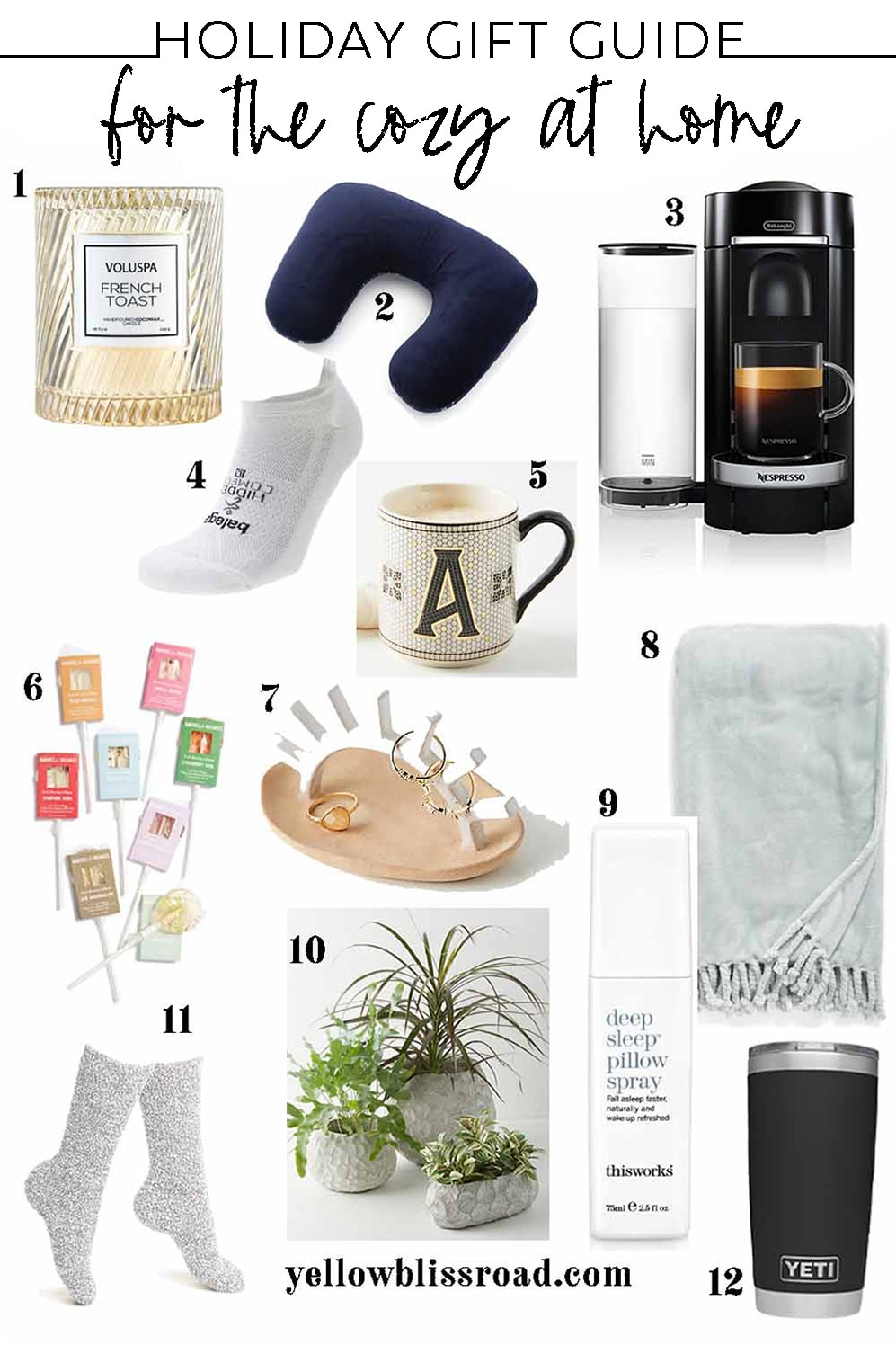 collage of gift ideas for staying cozy at home