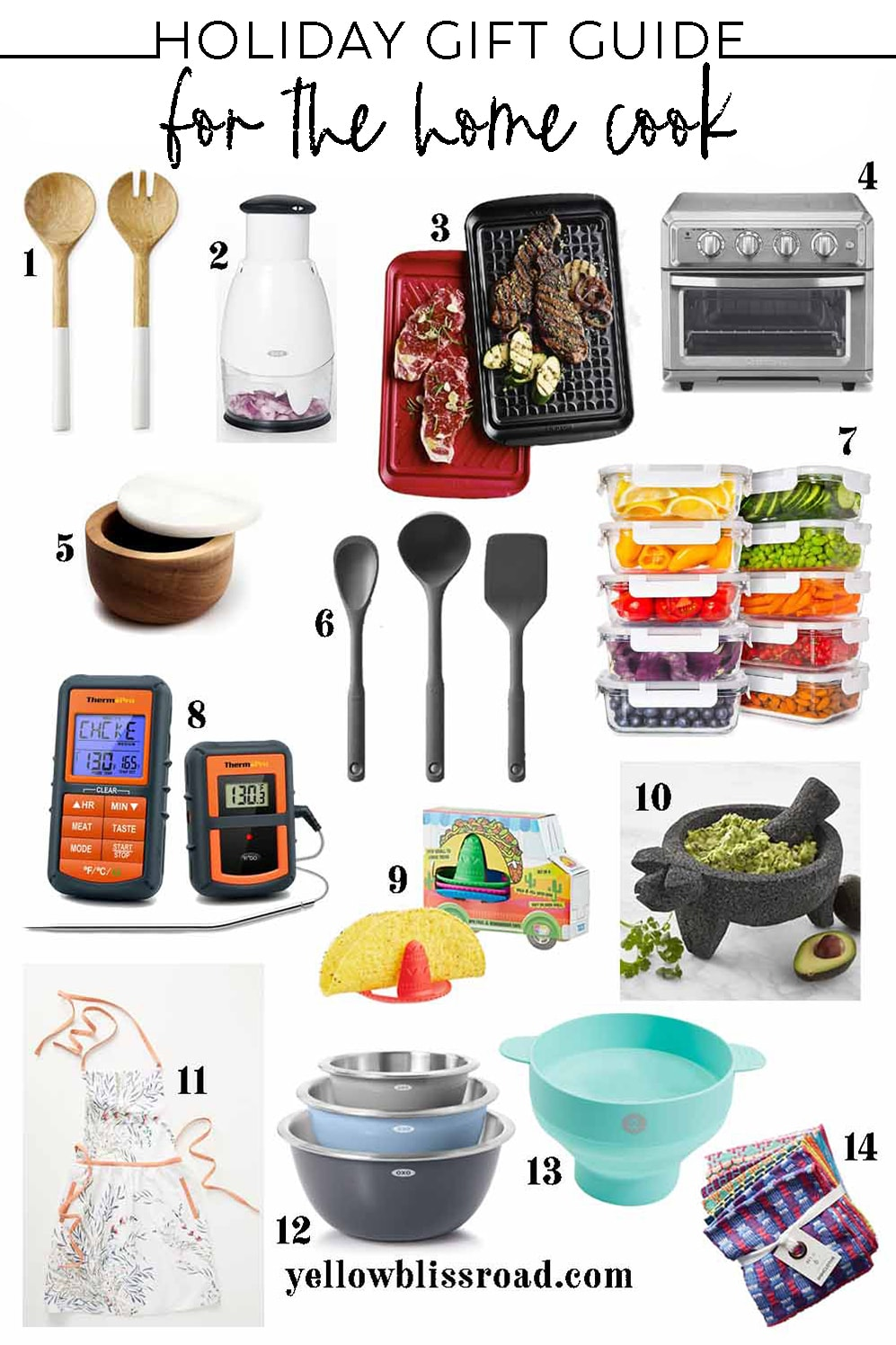 collage of gift ideas for people who love to cook