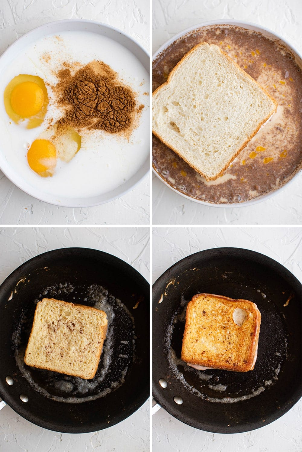collage of images of making french toast