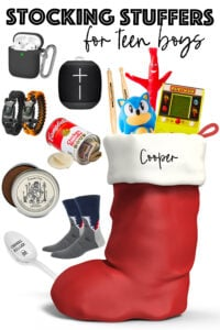 collage of images of product for stocking stuffers for teen boys