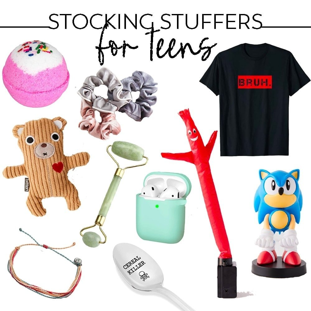 collage of images of product for stocking stuffers for teens