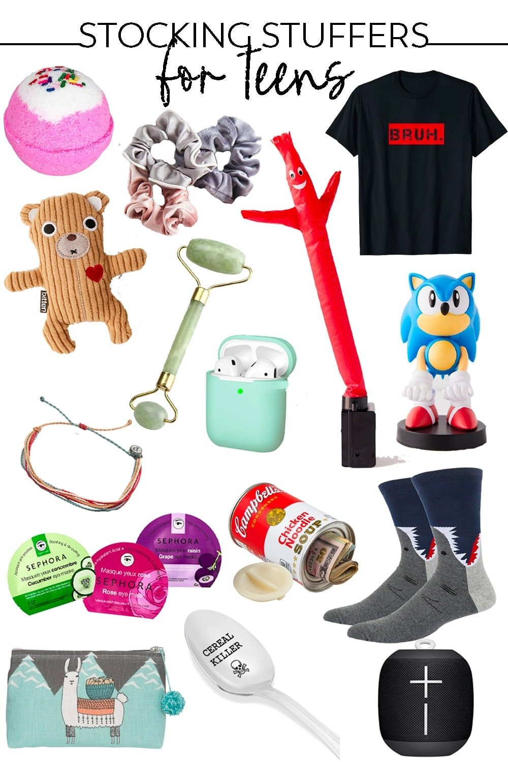 stocking stuffers for teens collage of images pinterest friendly