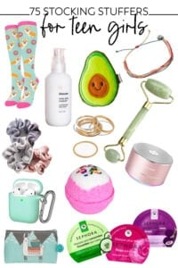 collage of products for teen girls stocking stuffers