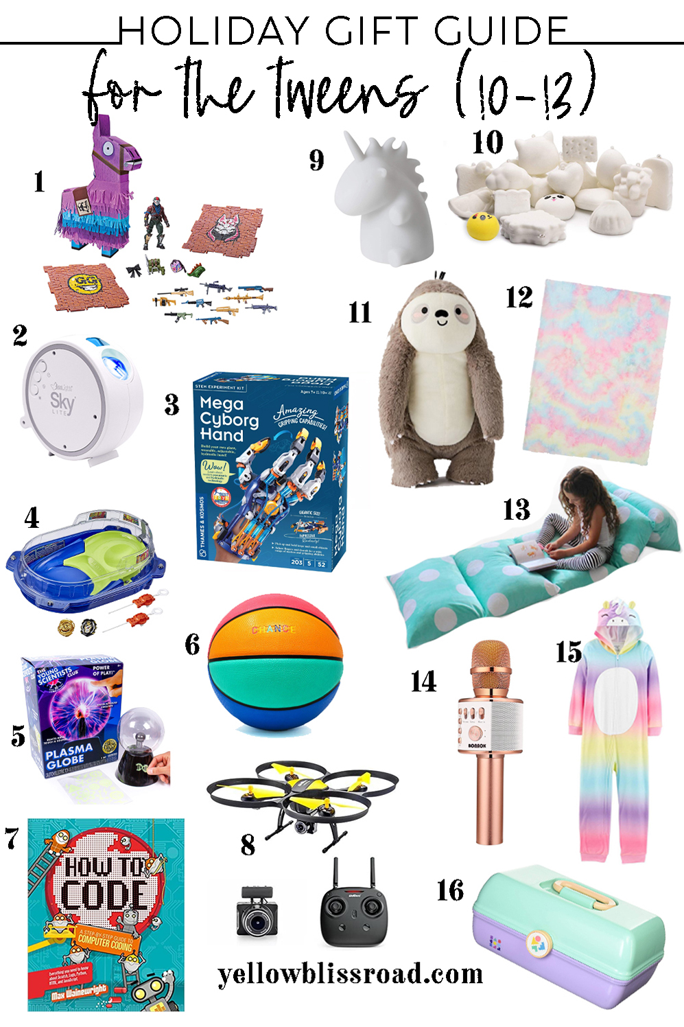 collage of holiday gift ideas for tweens age 10-13