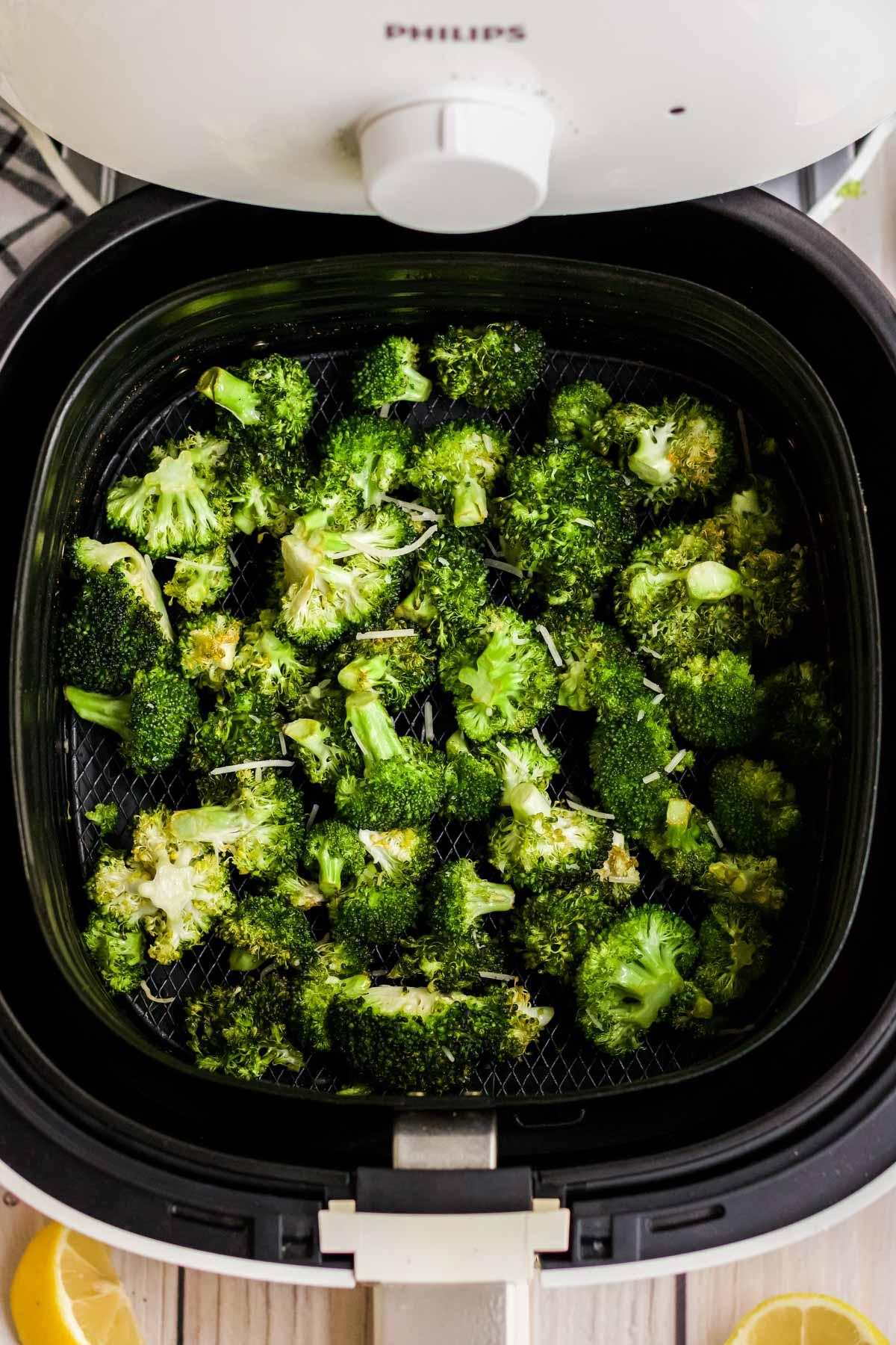 air fryer, browned broccoli florets