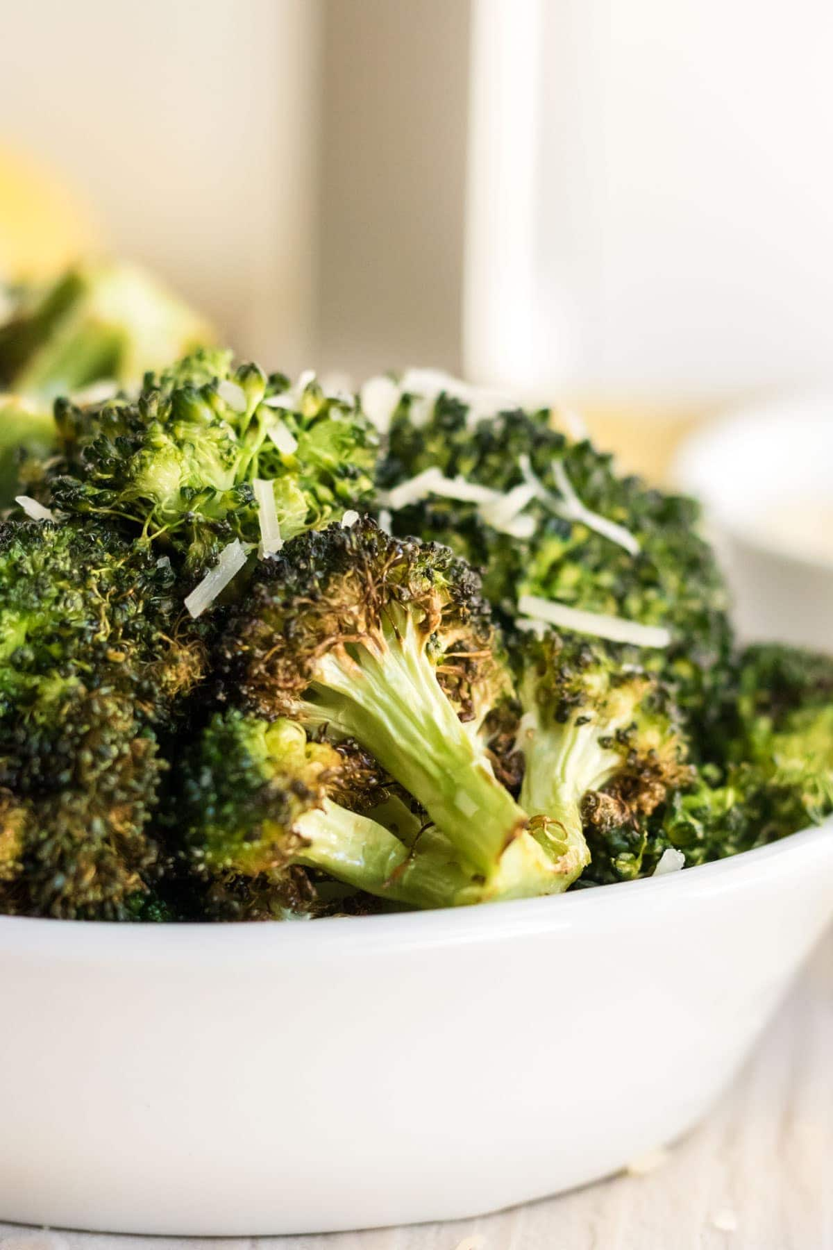 broccoli, white dish, air fryer