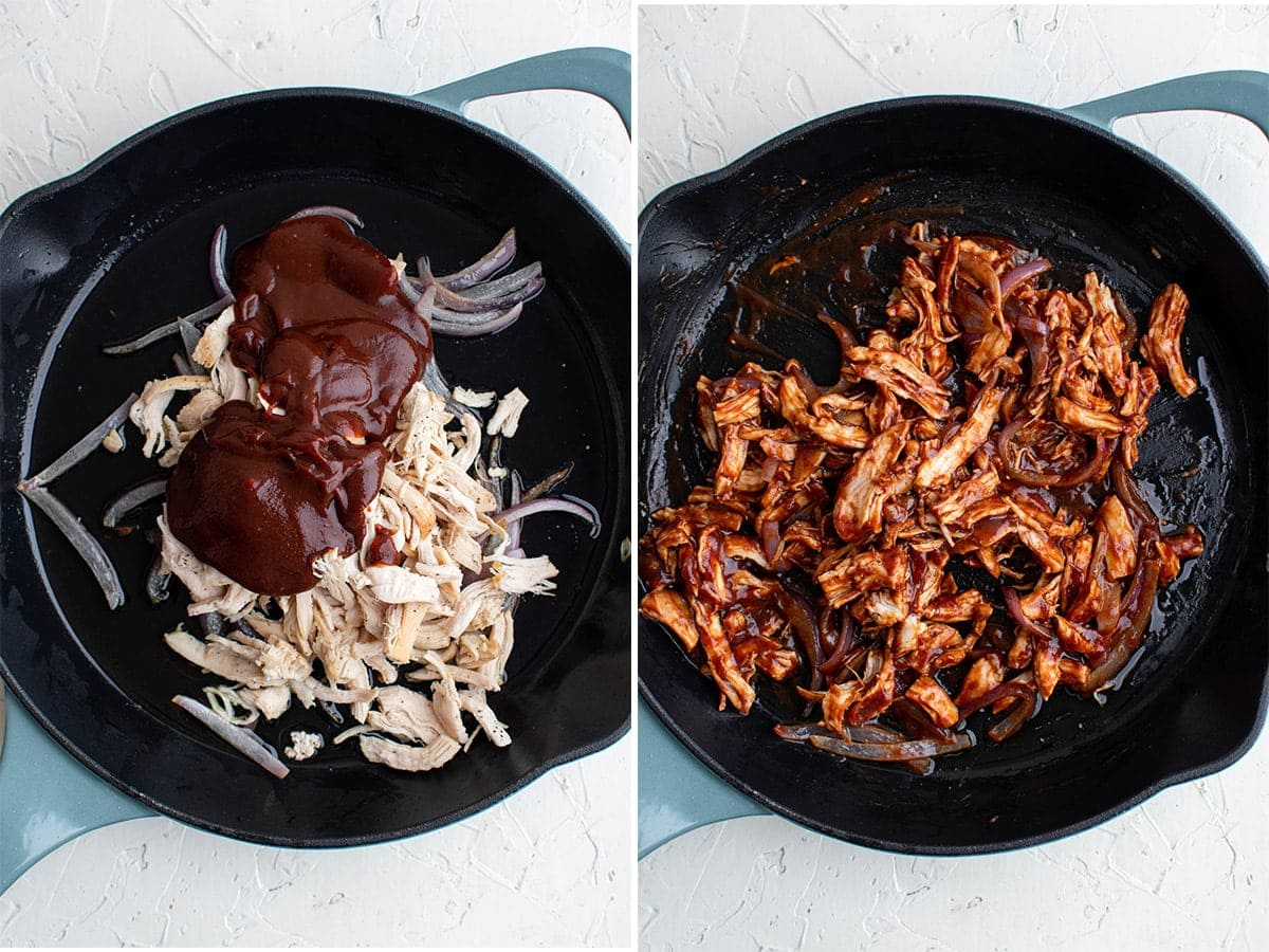 collage of 2 images of chicken and onions in a black skillet with bbq sauce