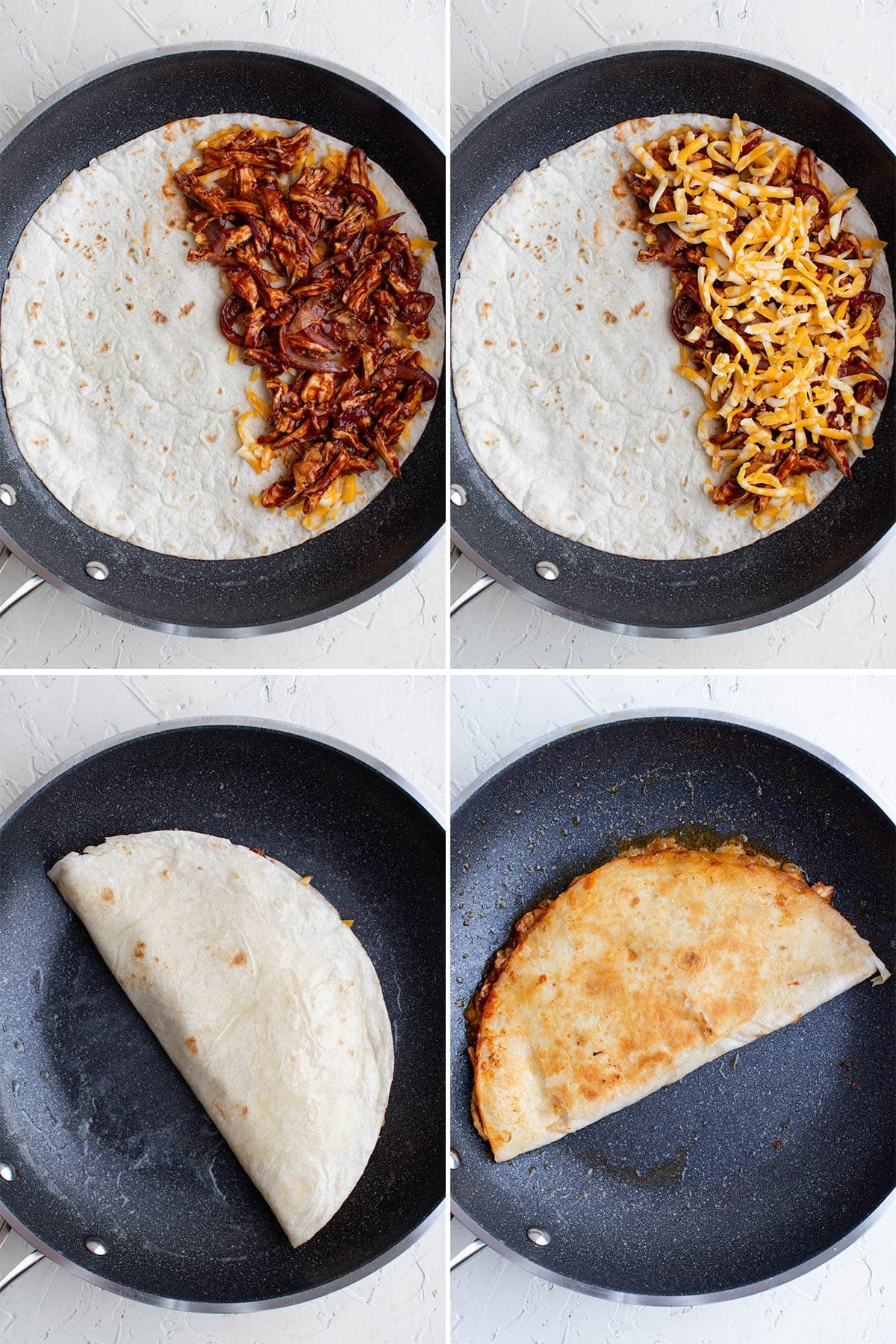 4 image collage of how to make chicken quesadillas