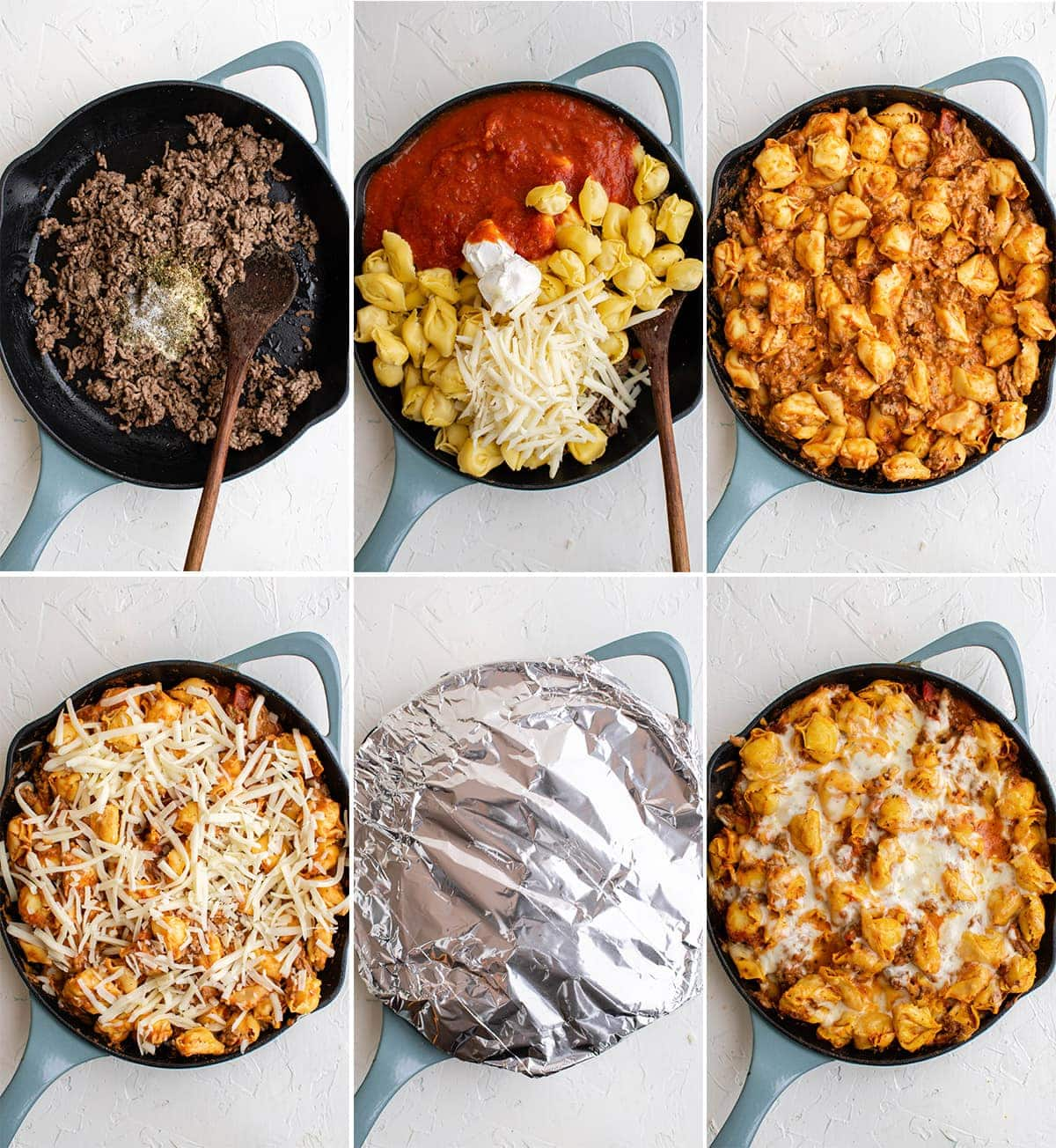 collage of images to make baked tortellini