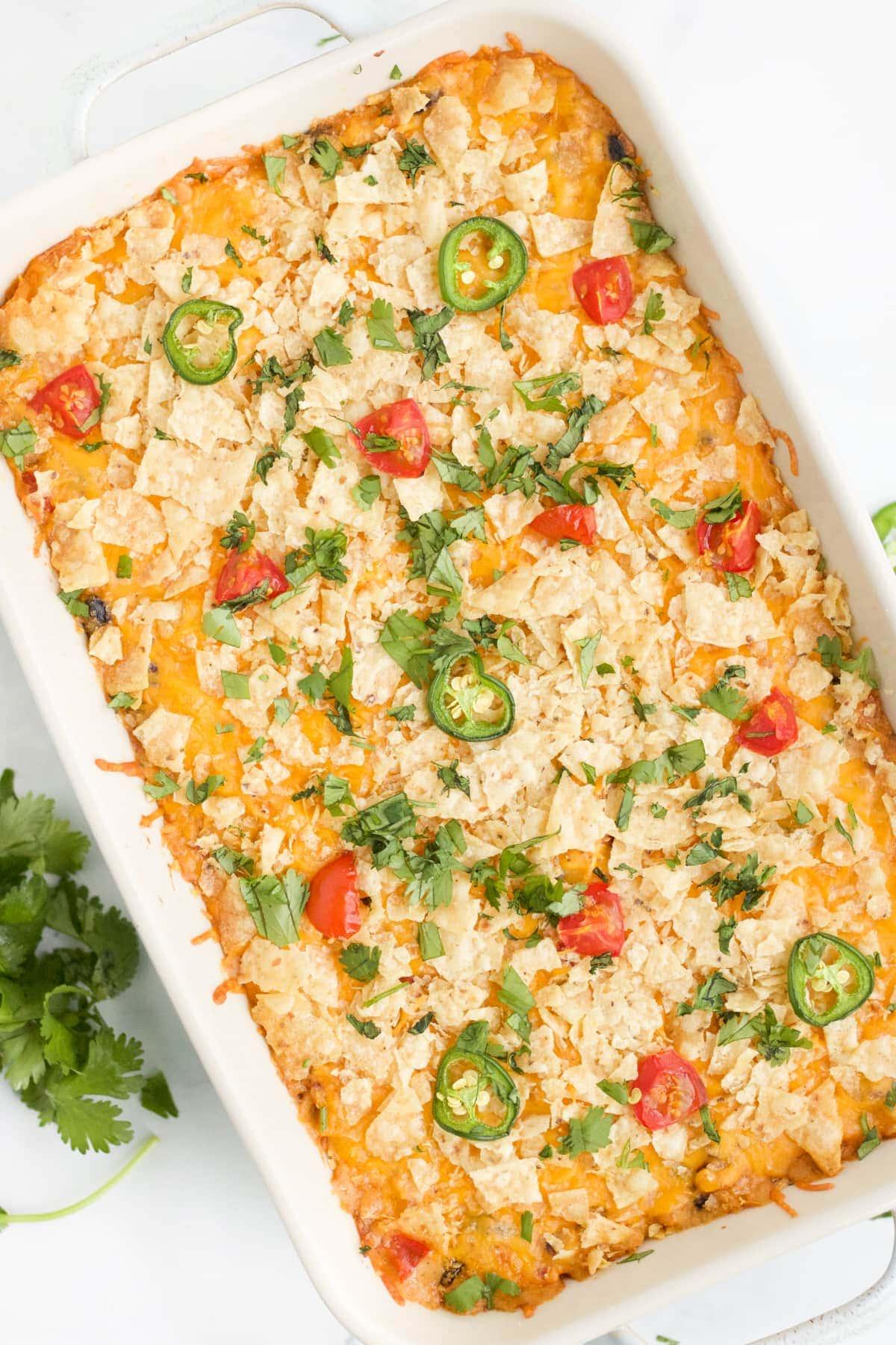 An overhead image of chicken taco casserole