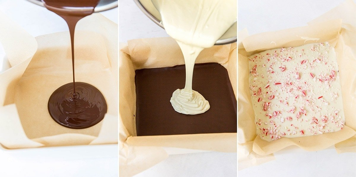 pouring chocolate into a pan, crushed candy canes on top