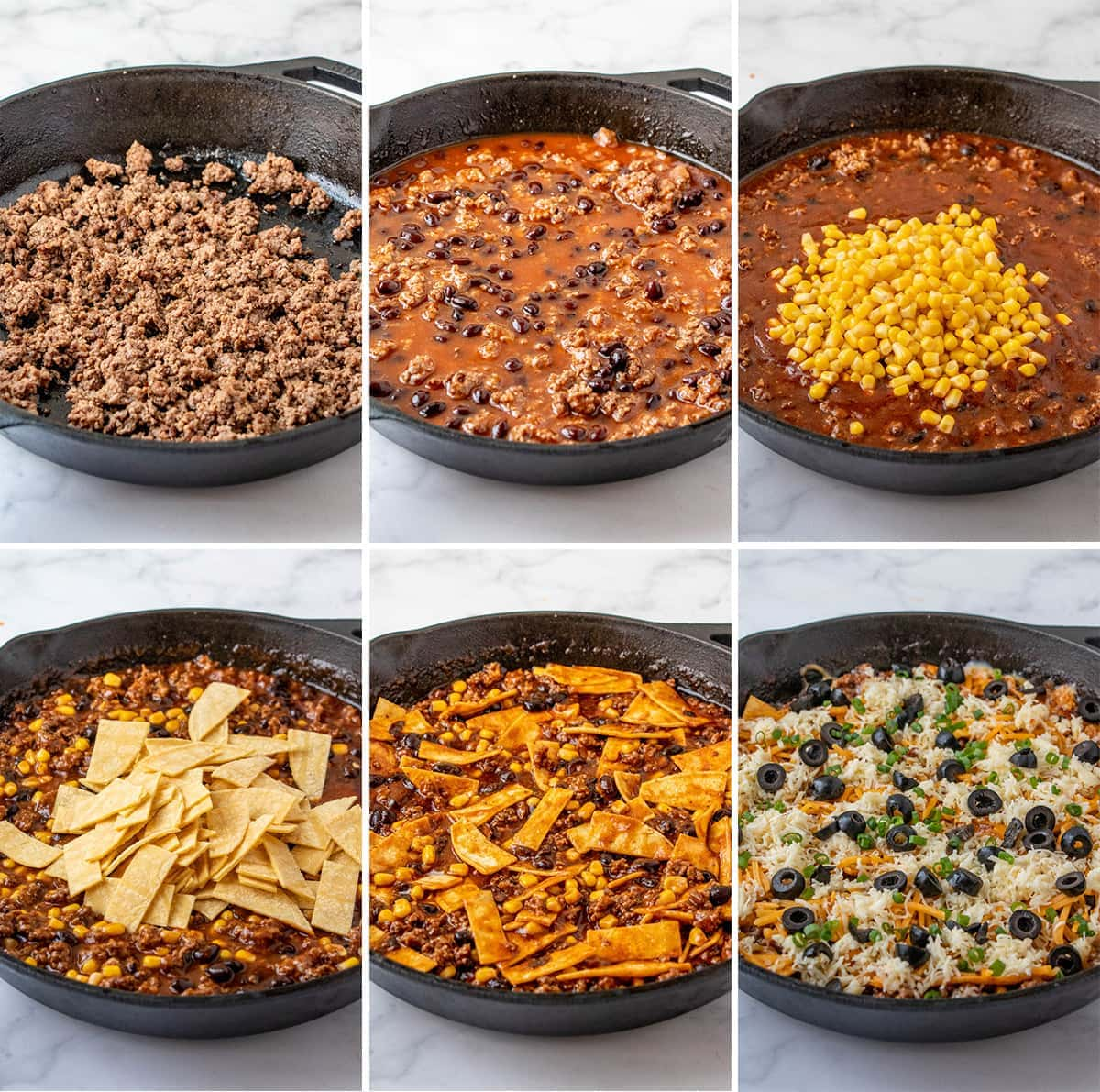 collage showing the process of making skillet enchiladas