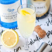 square image of a french 75 cocktail in a champagne flute