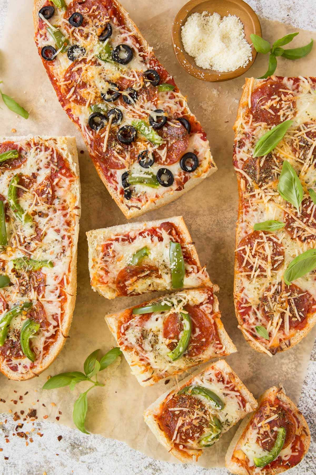 parchment paper, french bread pizzas, cheese
