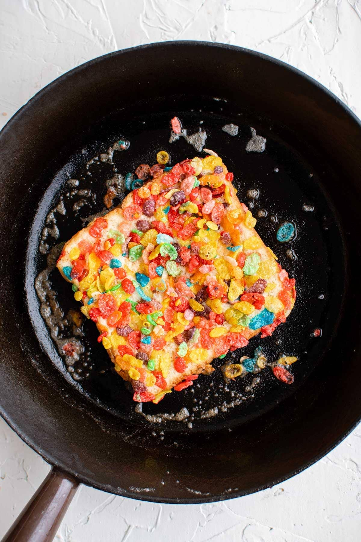 skillet, french toast with fruity pebbles cereal