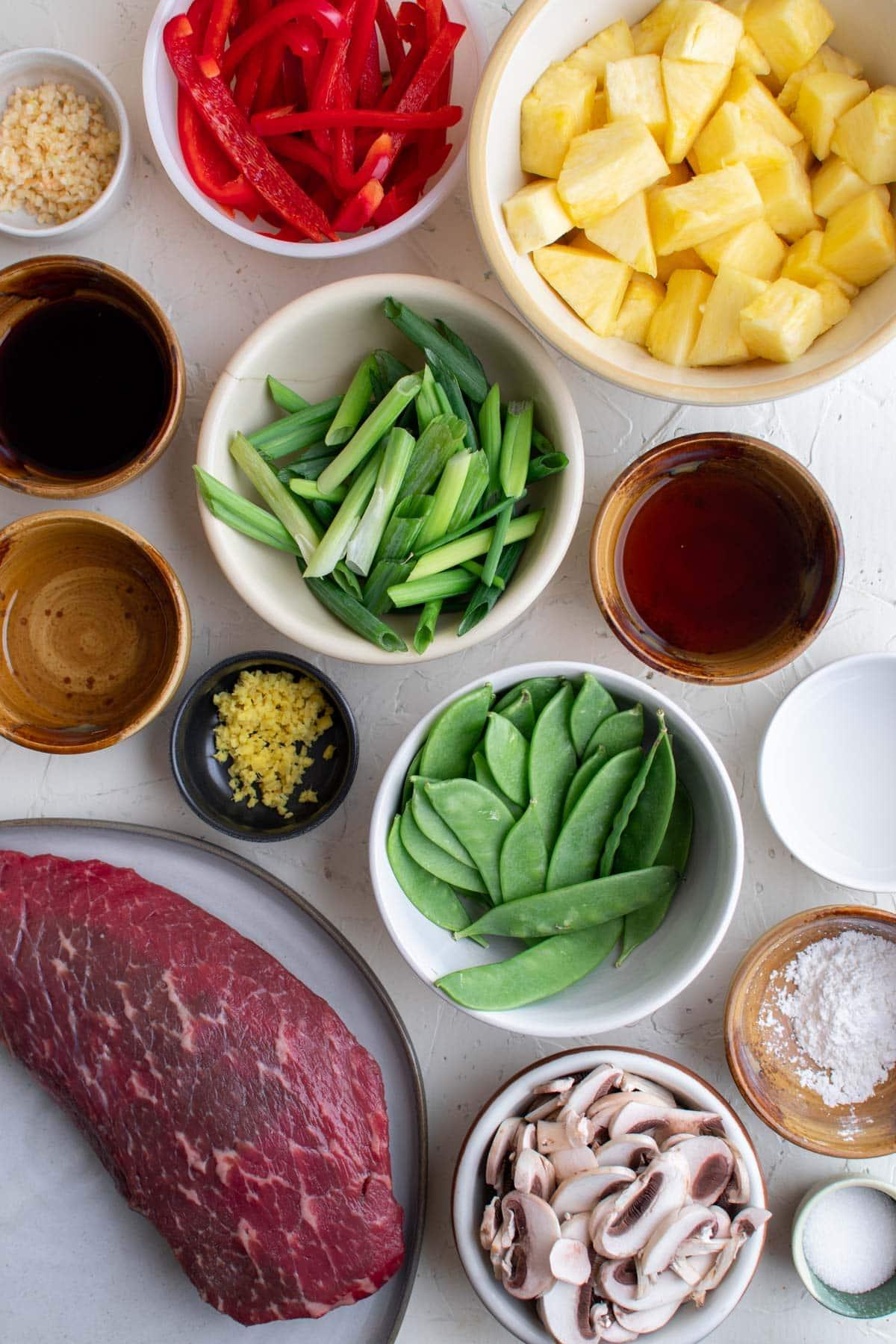 ingredients for making beef stir fry