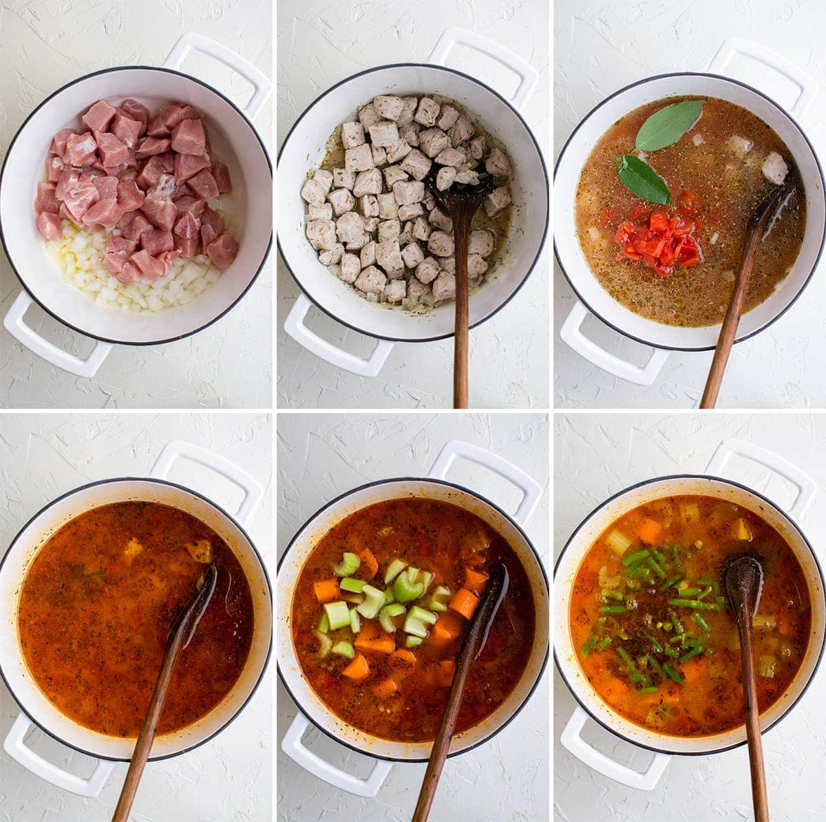 collage of images showing how to make pork stew